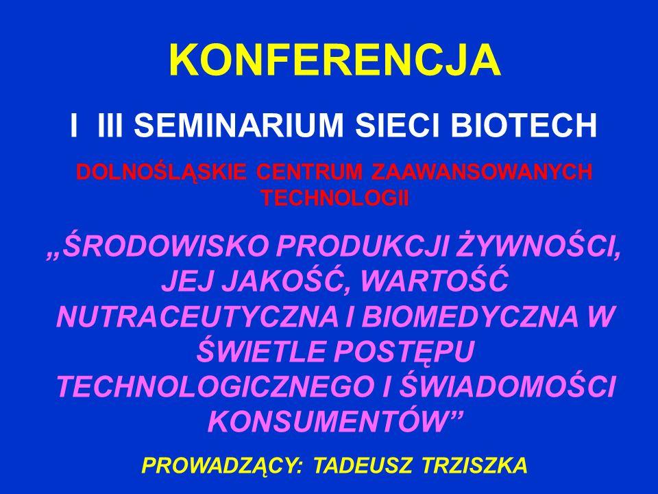 OBSZARY ZAGADNIEŃ MERYTORYCZNYCH 1.Nutraceutyki, żywność prozdrowotna, preparaty biomedyczne (7 referatów) 2.Utrwalanie żywności i systemy opakowań ( 3 referaty) 3.Produkty regionalne i ekologiczne (1 referat) 4.Jakość i bezpieczeństwo żywności (1 referat) 5.Edukacja żywieniowa (2 referaty) 6.Platformy technologiczne ŻYWNOŚC DLA ŻYCIA