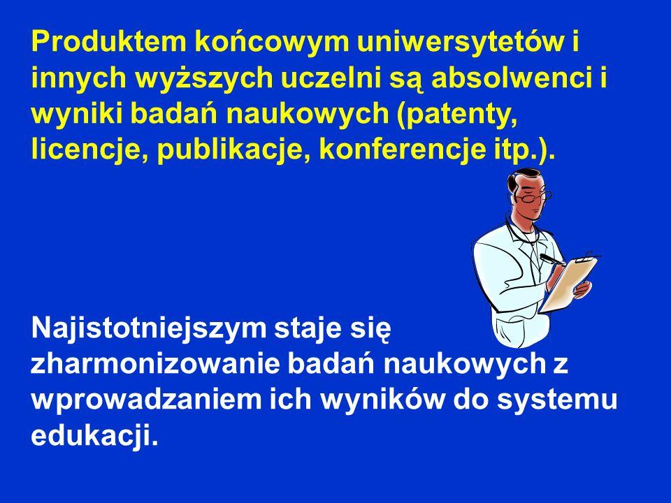 Produktem końcowym uniwersytetów i innych wyższych uczelni są absolwenci i wyniki badań naukowych (patenty, licencje, publikacje, konferencje itp.). N