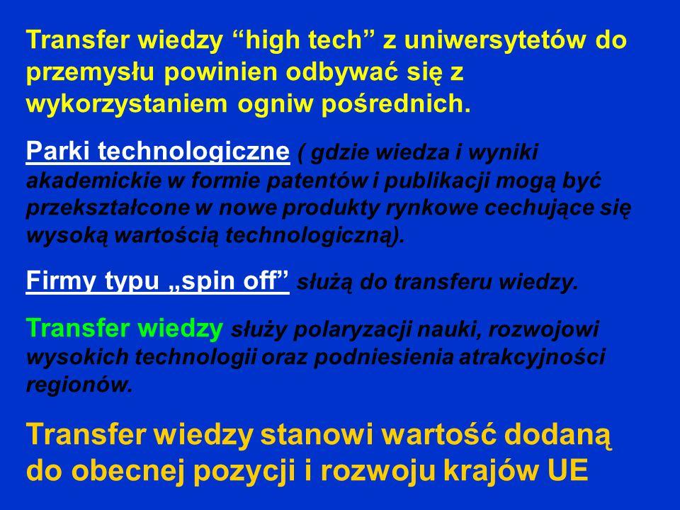 Transfer wiedzy high tech z uniwersytetów do przemysłu powinien odbywać się z wykorzystaniem ogniw pośrednich. Parki technologiczne ( gdzie wiedza i w