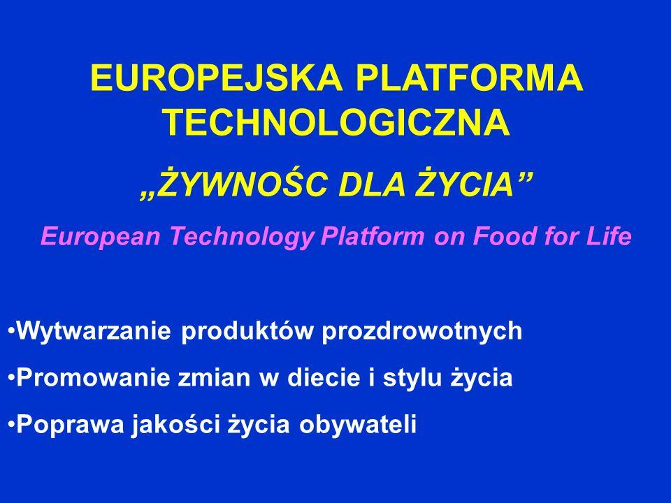 EUROPEJSKA PLATFORMA TECHNOLOGICZNA ŻYWNOŚC DLA ŻYCIA European Technology Platform on Food for Life Wytwarzanie produktów prozdrowotnych Promowanie zm