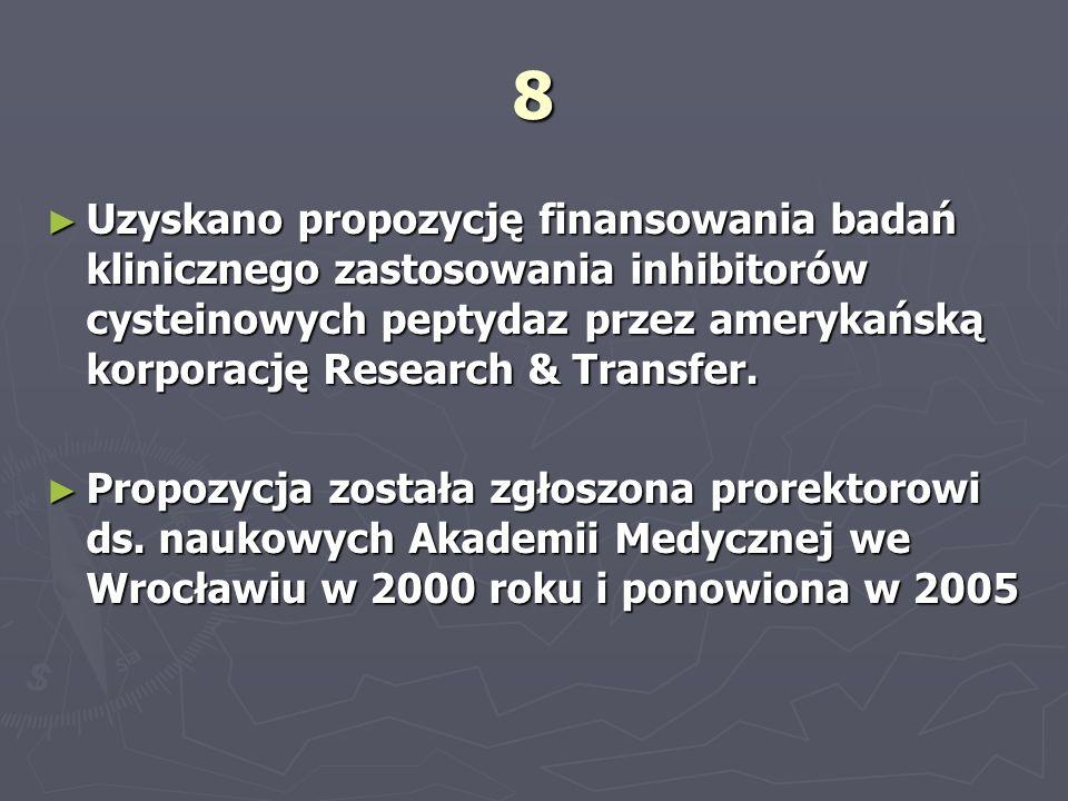 8 Uzyskano propozycję finansowania badań klinicznego zastosowania inhibitorów cysteinowych peptydaz przez amerykańską korporację Research & Transfer.