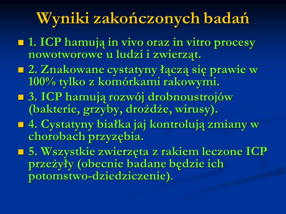 Wyniki zakończonych badań 1. ICP hamują in vivo oraz in vitro procesy nowotworowe u ludzi i zwierząt. 1. ICP hamują in vivo oraz in vitro procesy nowo