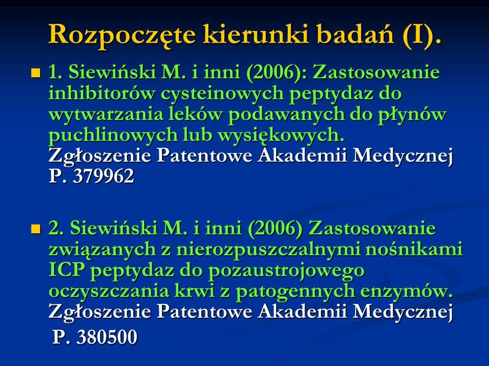 Rozpoczęte kierunki badań (I). 1. Siewiński M. i inni (2006): Zastosowanie inhibitorów cysteinowych peptydaz do wytwarzania leków podawanych do płynów