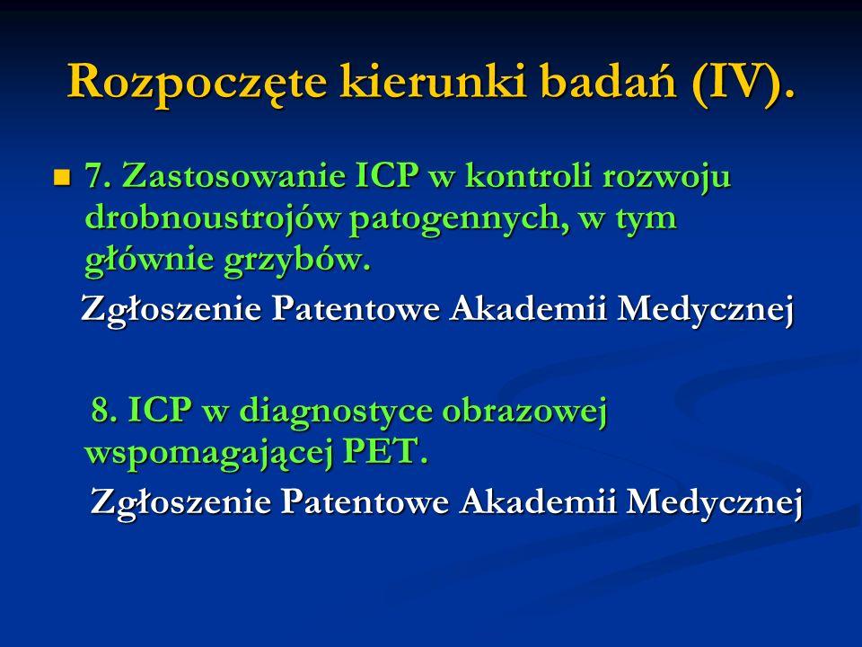 Rozpoczęte kierunki badań (IV). 7. Zastosowanie ICP w kontroli rozwoju drobnoustrojów patogennych, w tym głównie grzybów. 7. Zastosowanie ICP w kontro