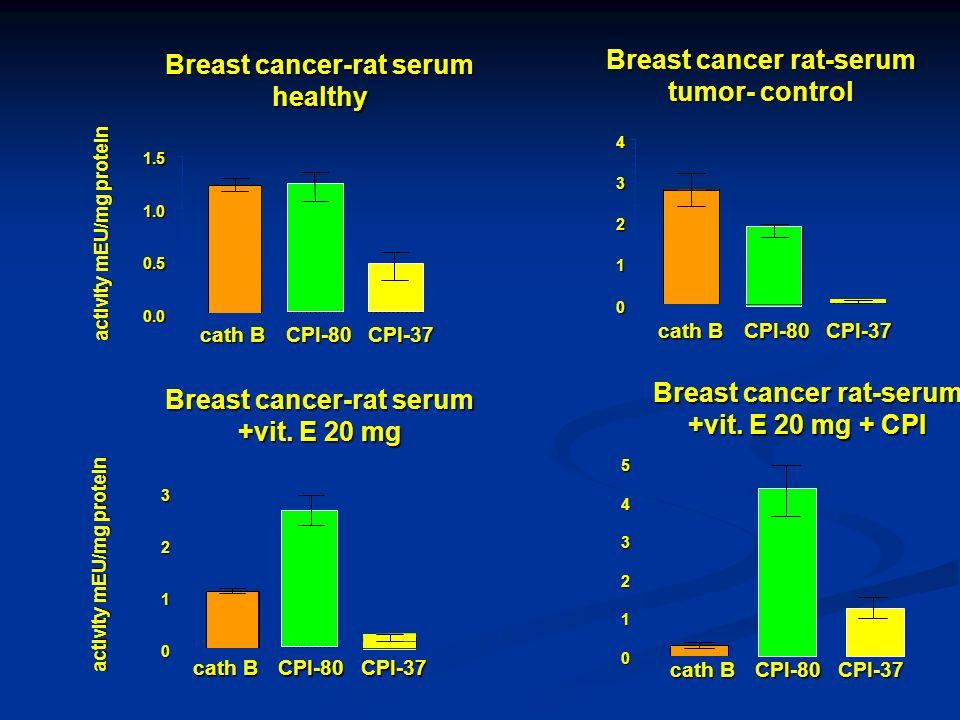 activity mEU/mg protein Breast cancer-rat serum +vit. E 20 mg 0 1 2 3 cath B CPI-80CPI-37 Breast cancer rat-serum +vit. E 20 mg + CPI 0 1 2 3 4 5 acti
