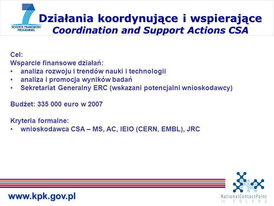 www.kpk.gov.pl Działania koordynujące i wspierające Coordination and Support Actions CSA Cel: Wsparcie finansowe działań: analiza rozwoju i trendów nauki i technologii analiza i promocja wyników badań Sekretariat Generalny ERC (wskazani potencjalni wnioskodawcy) Budżet: 335 000 euro w 2007 Kryteria formalne: wnioskodawca CSA – MS, AC, IEIO (CERN, EMBL), JRC