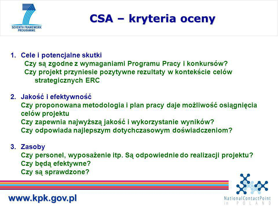www.kpk.gov.pl CSA – kryteria oceny 1.Cele i potencjalne skutki Czy są zgodne z wymaganiami Programu Pracy i konkursów.
