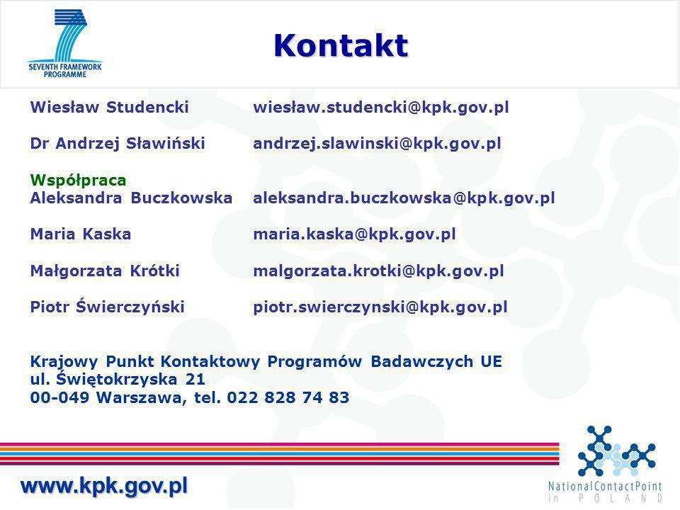 www.kpk.gov.pl Kontakt Kontakt www.kpk.gov.pl Wiesław Studenckiwiesław.studencki@kpk.gov.pl Dr Andrzej Sławińskiandrzej.slawinski@kpk.gov.pl Współpraca Aleksandra Buczkowskaaleksandra.buczkowska@kpk.gov.pl Maria Kaskamaria.kaska@kpk.gov.pl Małgorzata Krótkimalgorzata.krotki@kpk.gov.pl Piotr Świerczyńskipiotr.swierczynski@kpk.gov.pl Krajowy Punkt Kontaktowy Programów Badawczych UE ul.