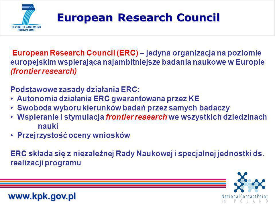 www.kpk.gov.pl European Research Council European Research Council (ERC) – jedyna organizacja na poziomie europejskim wspierająca najambitniejsze badania naukowe w Europie (frontier research) Podstawowe zasady działania ERC: Autonomia działania ERC gwarantowana przez KE Swoboda wyboru kierunków badań przez samych badaczy Wspieranie i stymulacja frontier research we wszystkich dziedzinach nauki Przejrzystość oceny wniosków ERC składa się z niezależnej Rady Naukowej i specjalnej jednostki ds.