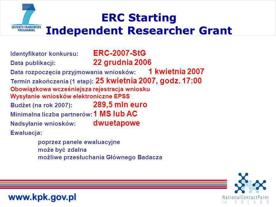 www.kpk.gov.pl ERC Starting Independent Researcher Grant Identyfikator konkursu: ERC-2007-StG Data publikacji: 22 grudnia 2006 Data rozpoczęcia przyjmowania wniosków: 1 kwietnia 2007 Termin zakończenia (1 etap): 25 kwietnia 2007, godz.