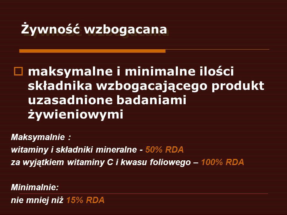 Żywność wzbogacana maksymalne i minimalne ilości składnika wzbogacającego produkt uzasadnione badaniami żywieniowymi Maksymalnie : witaminy i składnik