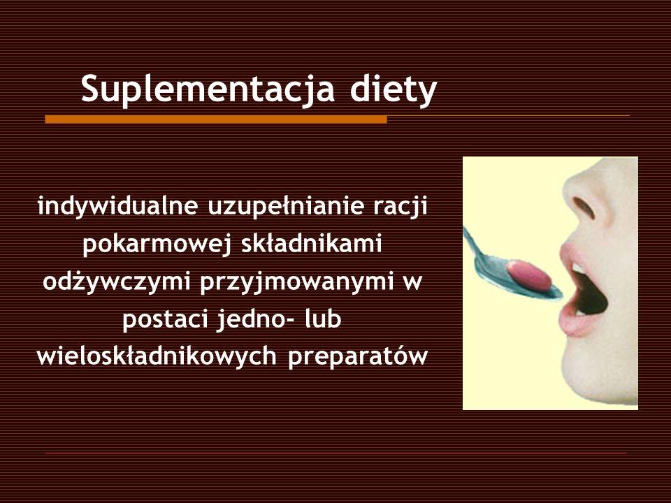 indywidualne uzupełnianie racji pokarmowej składnikami odżywczymi przyjmowanymi w postaci jedno- lub wieloskładnikowych preparatów Suplementacja diety