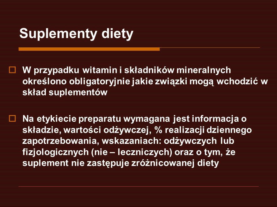 W przypadku witamin i składników mineralnych określono obligatoryjnie jakie związki mogą wchodzić w skład suplementów Na etykiecie preparatu wymagana