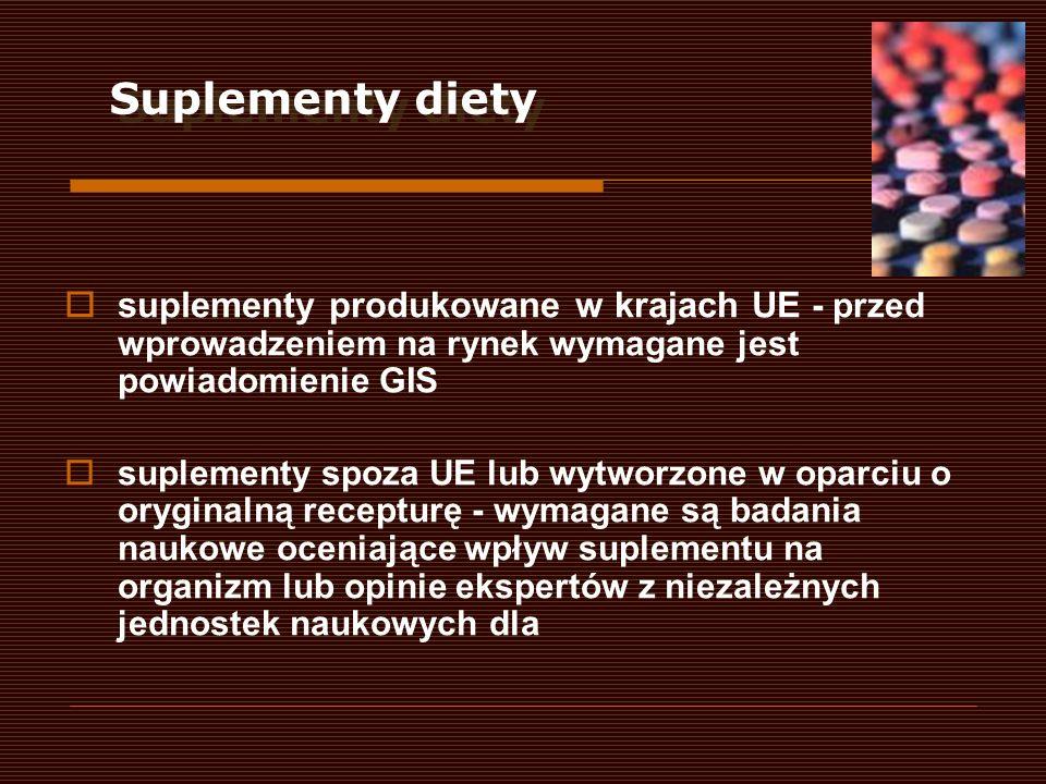 suplementy produkowane w krajach UE - przed wprowadzeniem na rynek wymagane jest powiadomienie GIS suplementy spoza UE lub wytworzone w oparciu o oryg