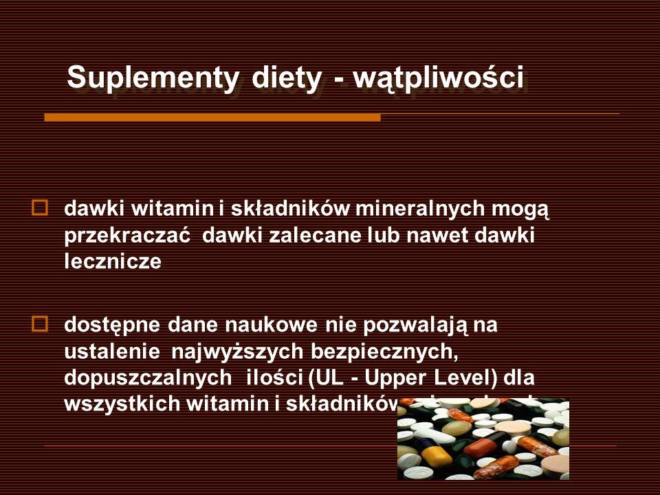 Suplementy diety - wątpliwości dawki witamin i składników mineralnych mogą przekraczać dawki zalecane lub nawet dawki lecznicze dostępne dane naukowe