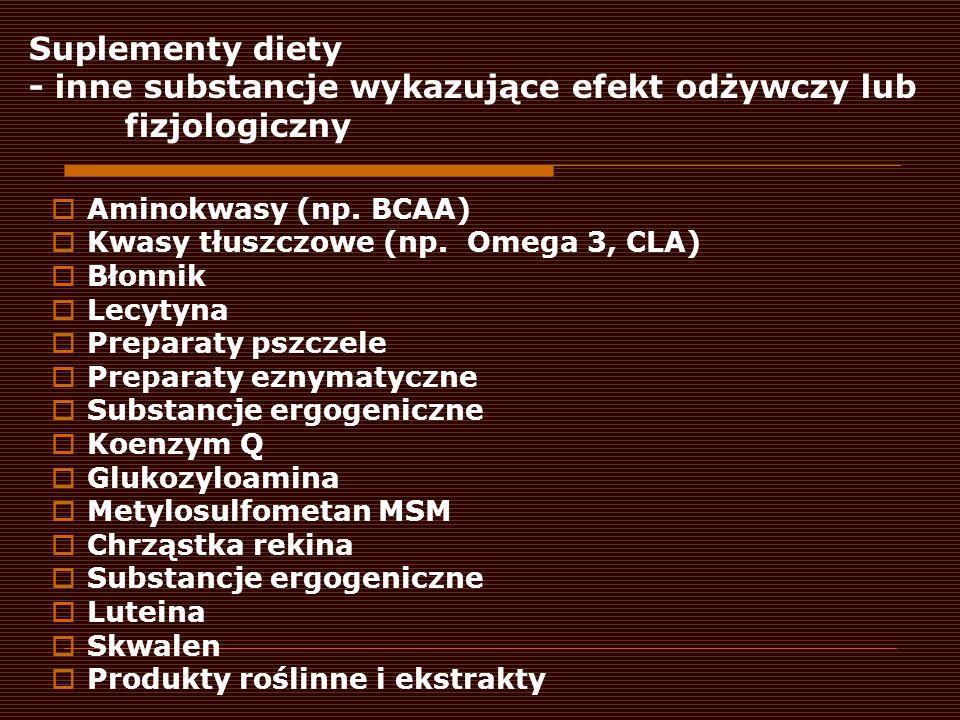 Suplementy diety - inne substancje wykazujące efekt odżywczy lub fizjologiczny Aminokwasy (np. BCAA) Kwasy tłuszczowe (np. Omega 3, CLA) Błonnik Lecyt