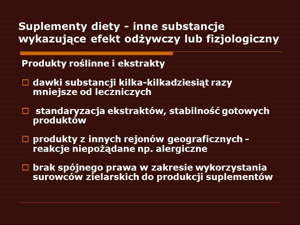 Suplementy diety - inne substancje wykazujące efekt odżywczy lub fizjologiczny Produkty roślinne i ekstrakty dawki substancji kilka-kilkadziesiąt razy