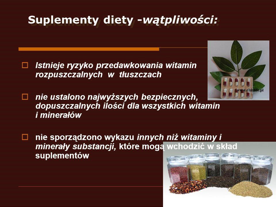 Suplementy diety -wątpliwości: Istnieje ryzyko przedawkowania witamin rozpuszczalnych w tłuszczach nie ustalono najwyższych bezpiecznych, dopuszczalny