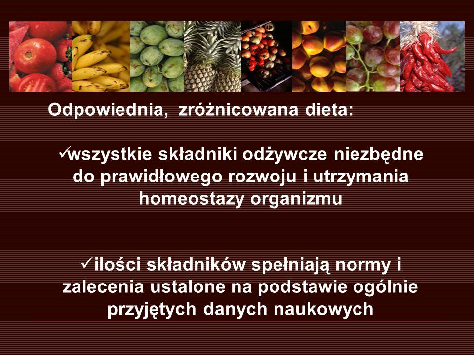 Odpowiednia, zróżnicowana dieta: wszystkie składniki odżywcze niezbędne do prawidłowego rozwoju i utrzymania homeostazy organizmu ilości składników sp