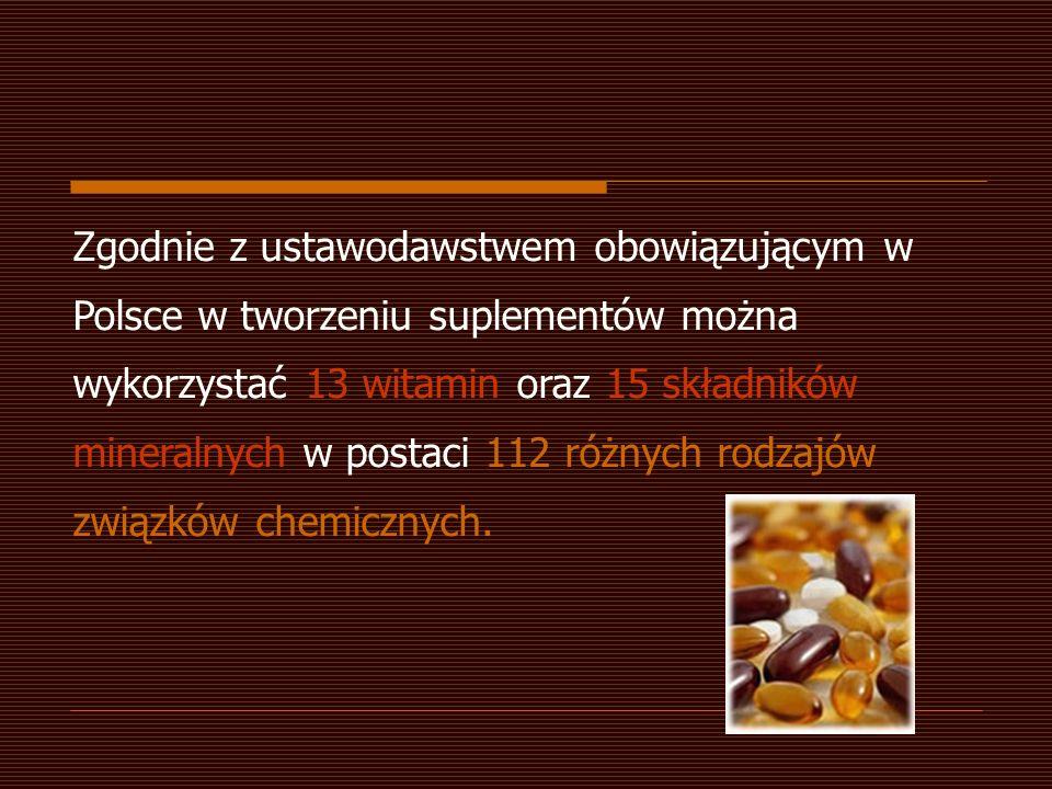 Zgodnie z ustawodawstwem obowiązującym w Polsce w tworzeniu suplementów można wykorzystać 13 witamin oraz 15 składników mineralnych w postaci 112 różn