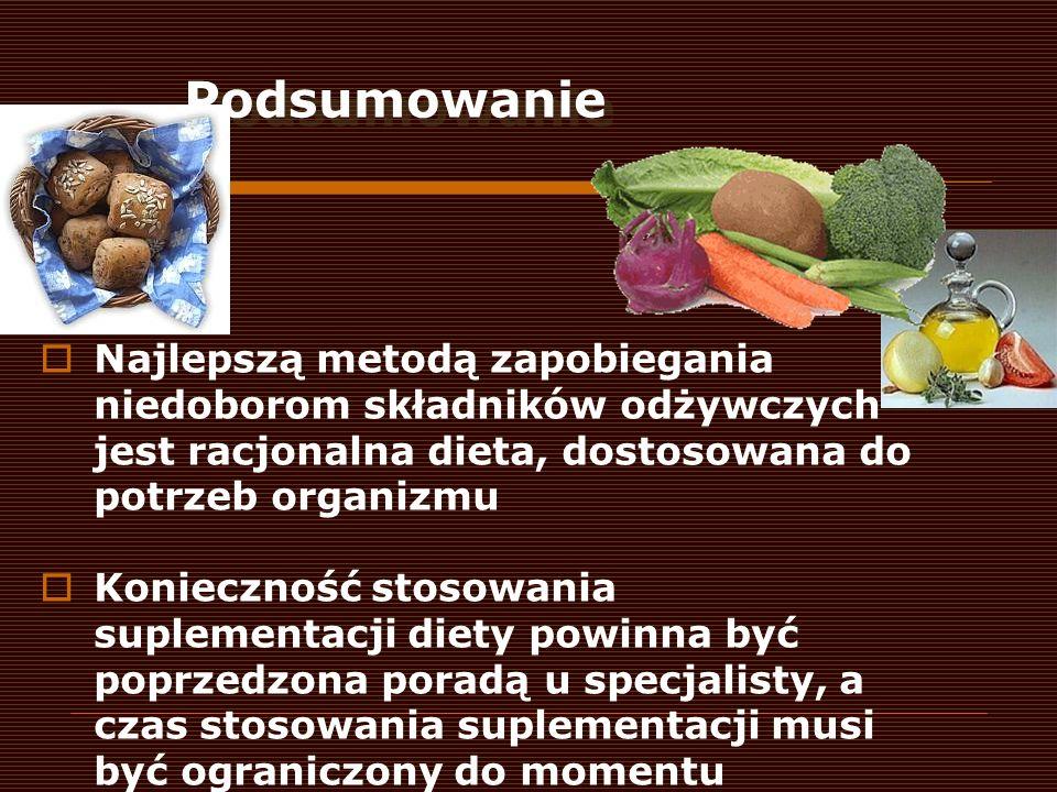 Podsumowanie Najlepszą metodą zapobiegania niedoborom składników odżywczych jest racjonalna dieta, dostosowana do potrzeb organizmu Konieczność stosow
