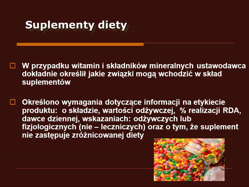 Suplementy diety W przypadku witamin i składników mineralnych ustawodawca dokładnie określił jakie związki mogą wchodzić w skład suplementów Określono