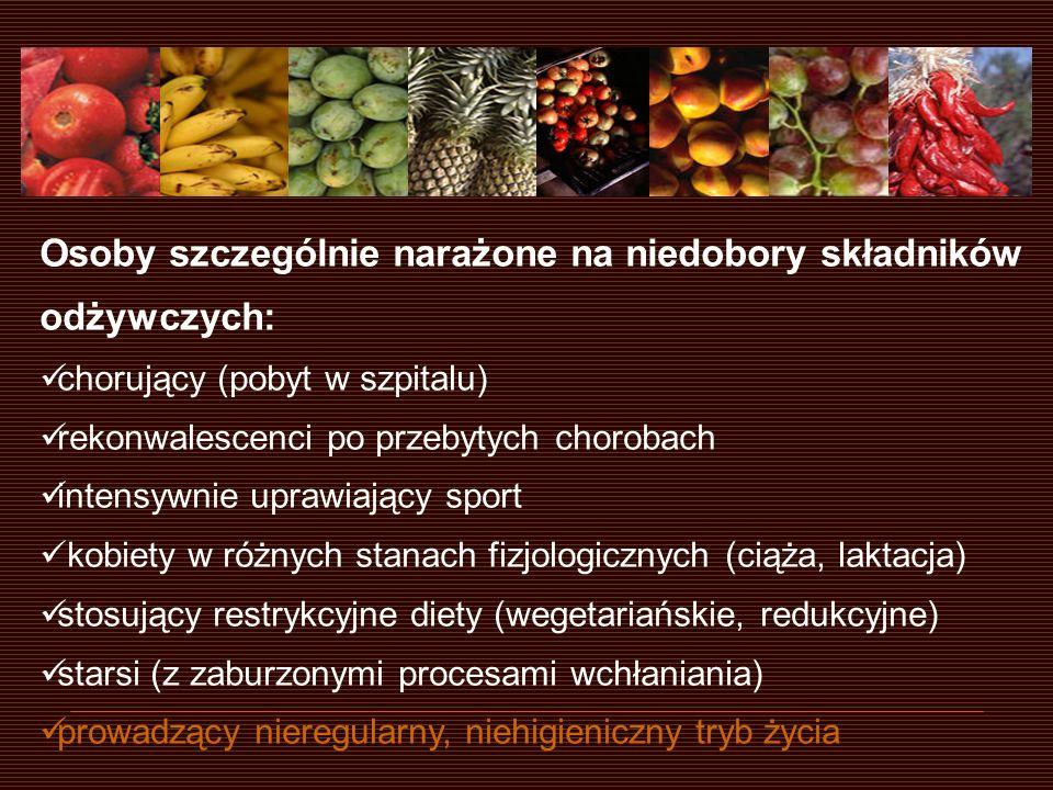 Żywność wzbogacana - wątpliwości: brak wyboru pomiędzy produktem wzbogacanym i nie wzbogacanym możliwość wystąpienia interakcji o trudnych do przewidzenia skutkach ograniczona wiedza na o bioprzyswajalności składników odżywczych ograniczona wiedza na temat oddziaływania na organizm dużych dawek substancji antyoksydacyjnych (Fe, witaminy C i E) PROFILE SKŁADNIKÓW ODŻYWCZYCH