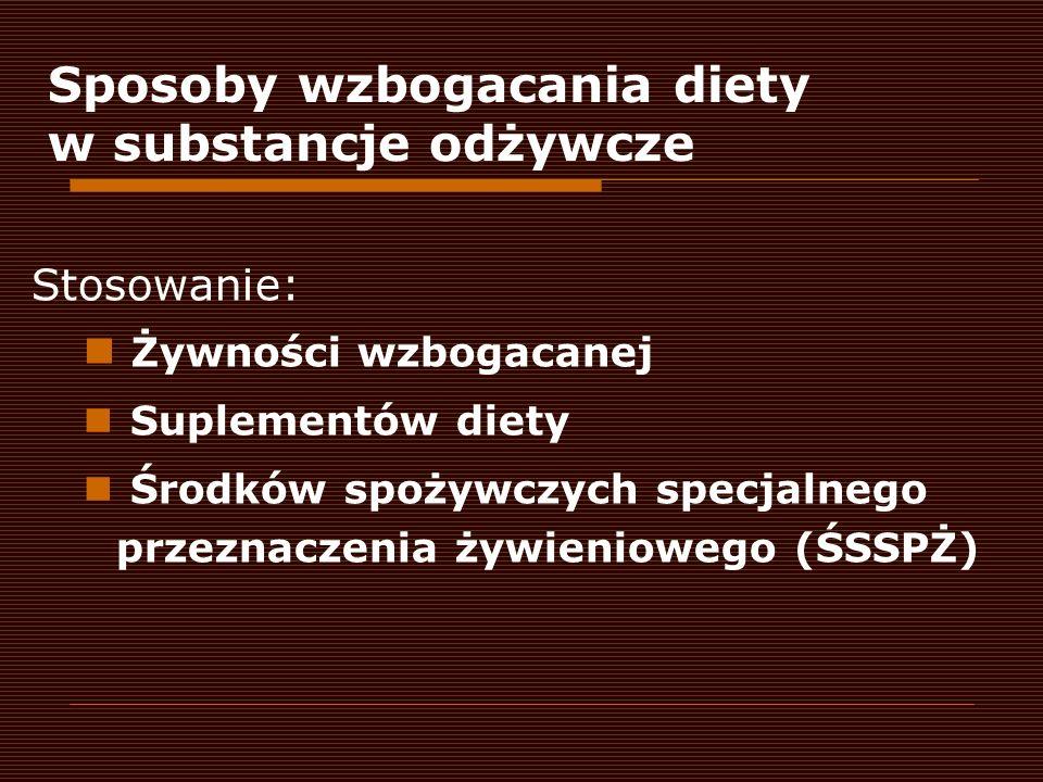 Stosowanie: Żywności wzbogacanej Suplementów diety Środków spożywczych specjalnego przeznaczenia żywieniowego (ŚSSPŻ) Sposoby wzbogacania diety w subs