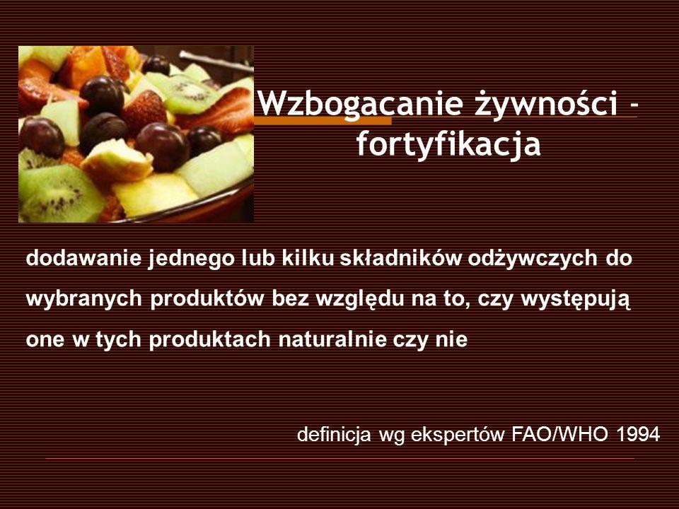 dodawanie jednego lub kilku składników odżywczych do wybranych produktów bez względu na to, czy występują one w tych produktach naturalnie czy nie def