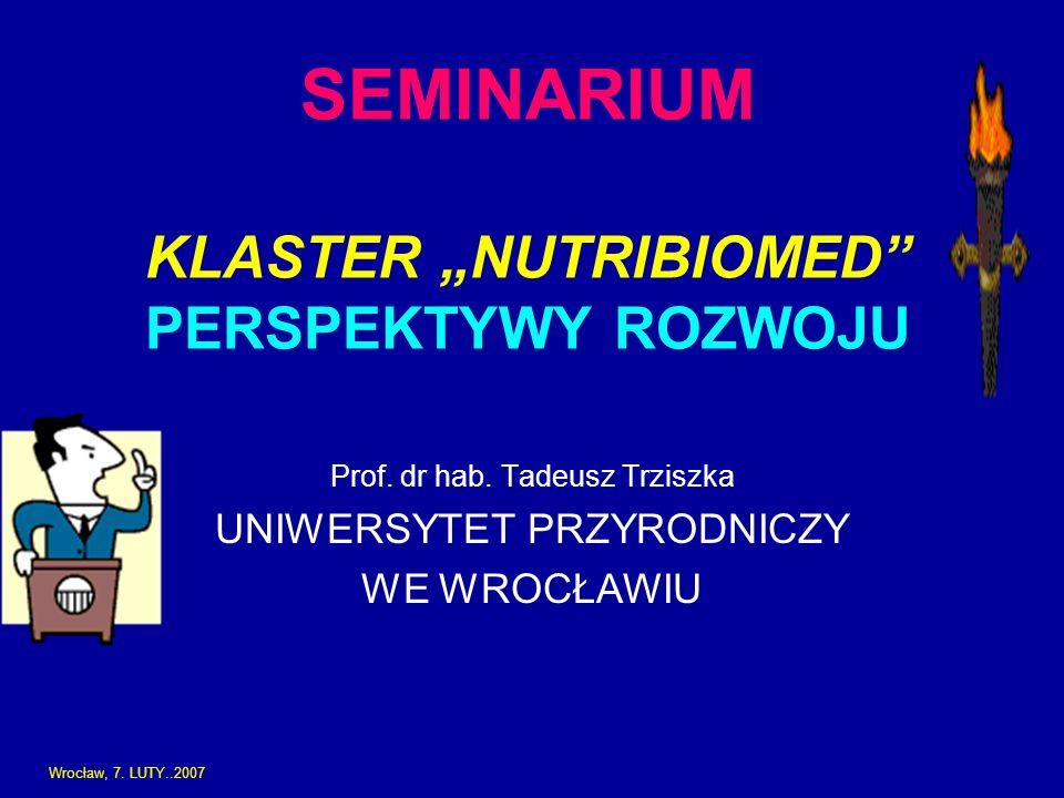 SEMINARIUM KLASTER NUTRIBIOMED PERSPEKTYWY ROZWOJU Prof. dr hab. Tadeusz Trziszka UNIWERSYTET PRZYRODNICZY WE WROCŁAWIU Wrocław, 7. LUTY..2007
