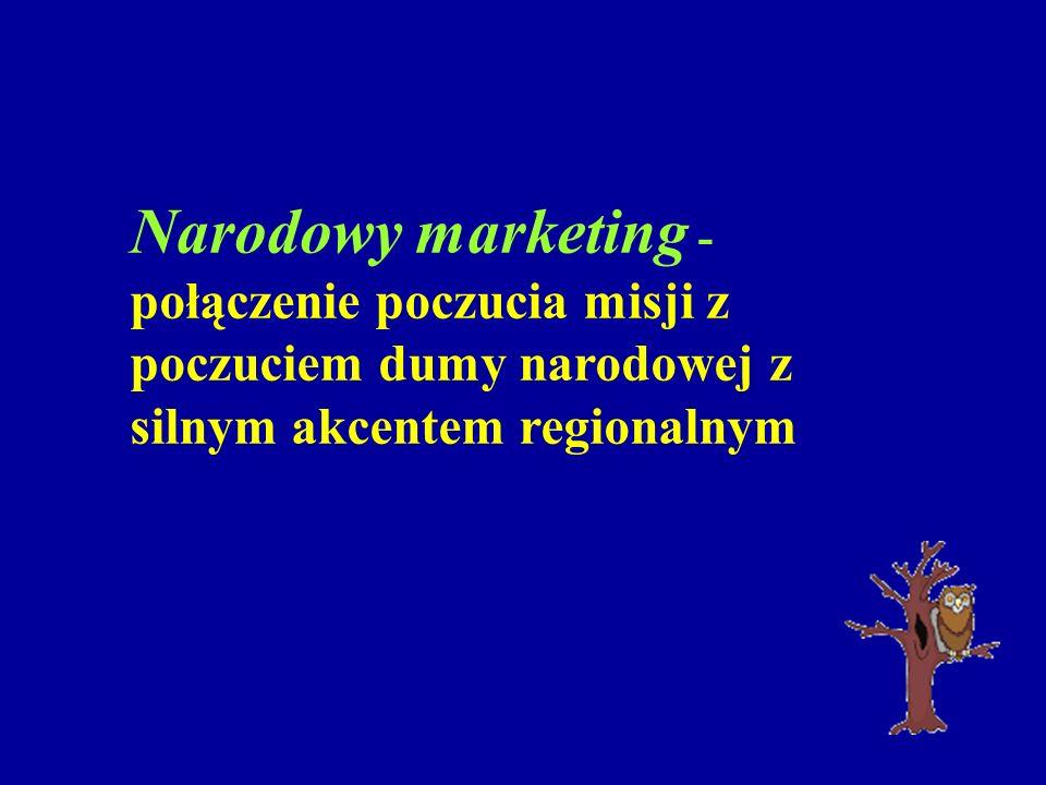 Narodowy marketing - połączenie poczucia misji z poczuciem dumy narodowej z silnym akcentem regionalnym