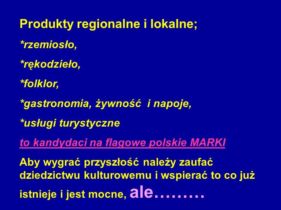 Produkty regionalne i lokalne; *rzemiosło, *rękodzieło, *folklor, *gastronomia, żywność i napoje, *usługi turystyczne to kandydaci na flagowe polskie