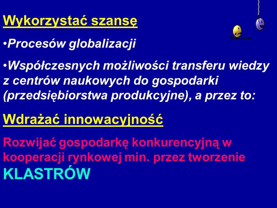 Wykorzystać szansę Procesów globalizacji Współczesnych możliwości transferu wiedzy z centrów naukowych do gospodarki (przedsiębiorstwa produkcyjne), a