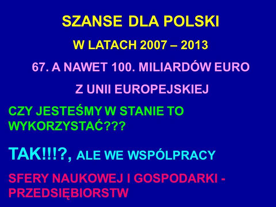 SZANSE DLA POLSKI W LATACH 2007 – 2013 67. A NAWET 100. MILIARDÓW EURO Z UNII EUROPEJSKIEJ CZY JESTEŚMY W STANIE TO WYKORZYSTAĆ??? TAK!!!?, ALE WE WSP