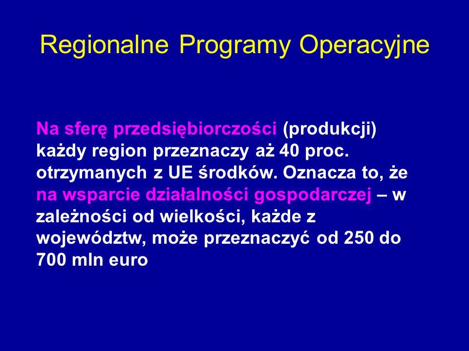 Regionalne Programy Operacyjne Na sferę przedsiębiorczości (produkcji) każdy region przeznaczy aż 40 proc. otrzymanych z UE środków. Oznacza to, że na