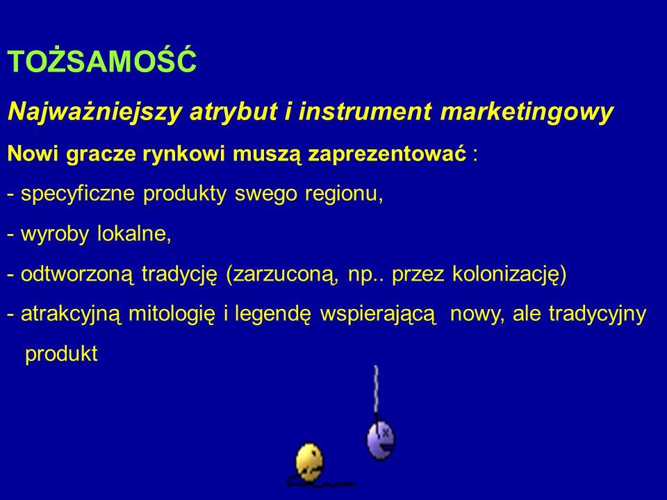 TOŻSAMOŚĆ Najważniejszy atrybut i instrument marketingowy Nowi gracze rynkowi muszą zaprezentować : - specyficzne produkty swego regionu, - wyroby lok