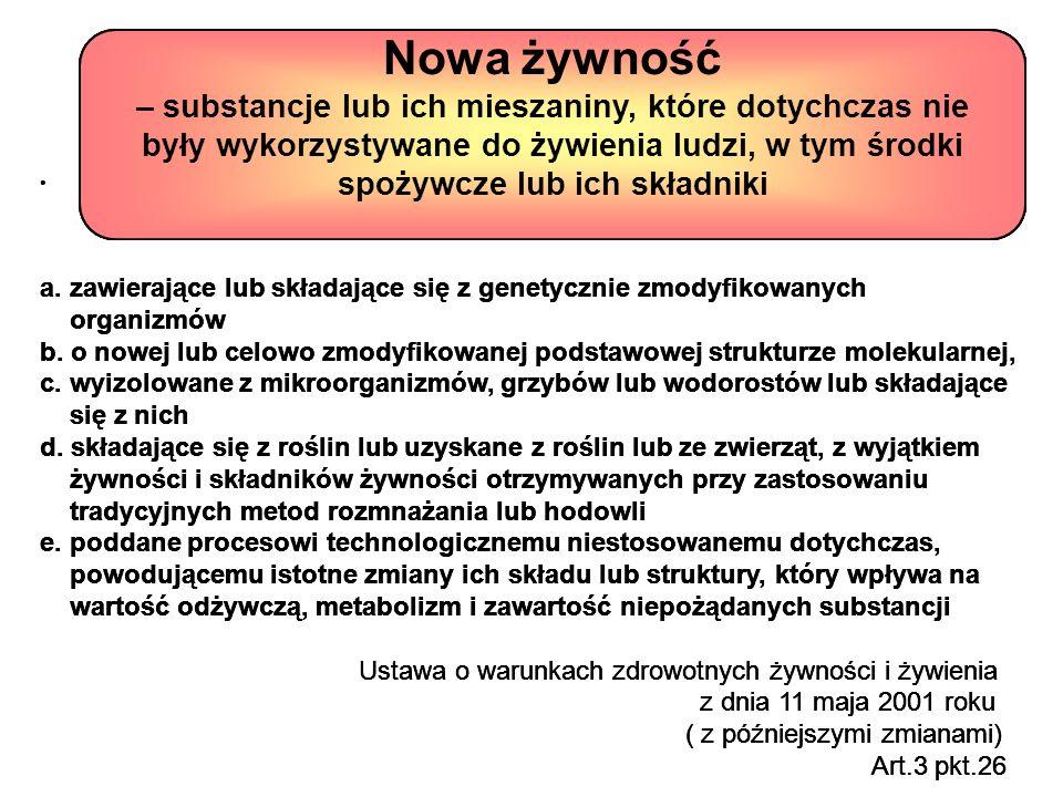 a. zawierające lub składające się z genetycznie zmodyfikowanych organizmów b. o nowej lub celowo zmodyfikowanej podstawowej strukturze molekularnej, c