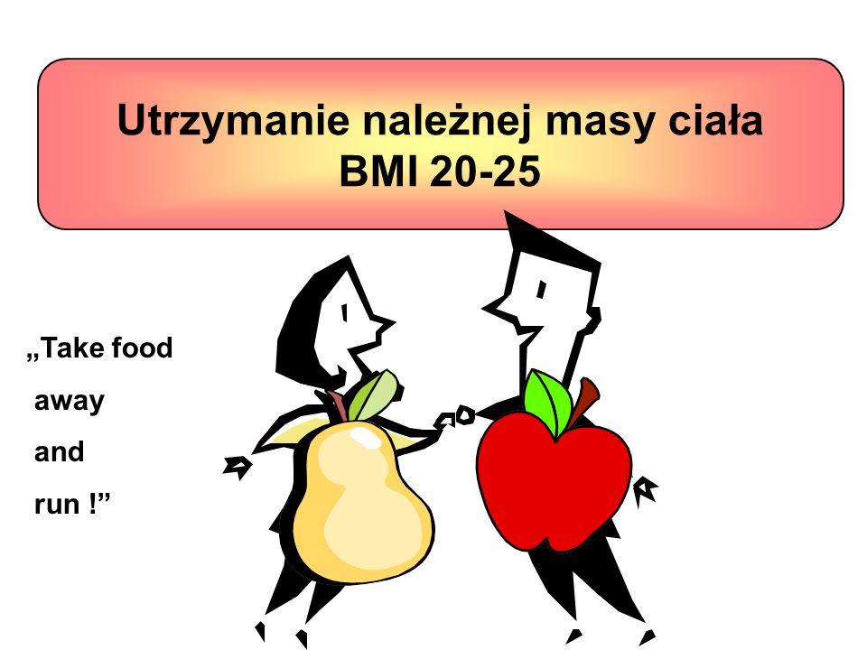 Utrzymanie należnej masy ciała BMI 20-25 Take food away and run !