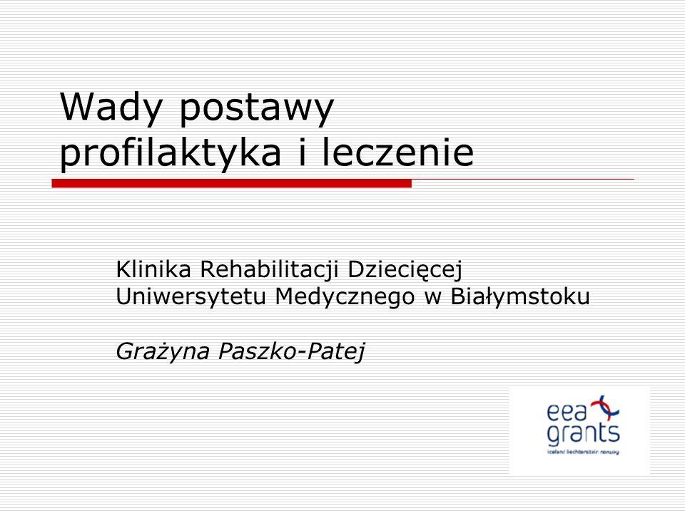 Wady postawy profilaktyka i leczenie Klinika Rehabilitacji Dziecięcej Uniwersytetu Medycznego w Białymstoku Grażyna Paszko-Patej