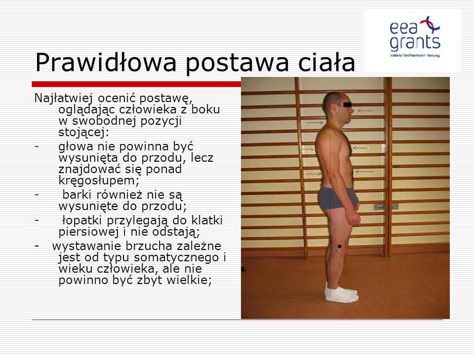 Prawidłowa postawa ciała Najłatwiej ocenić postawę, oglądając człowieka z boku w swobodnej pozycji stojącej: -głowa nie powinna być wysunięta do przod