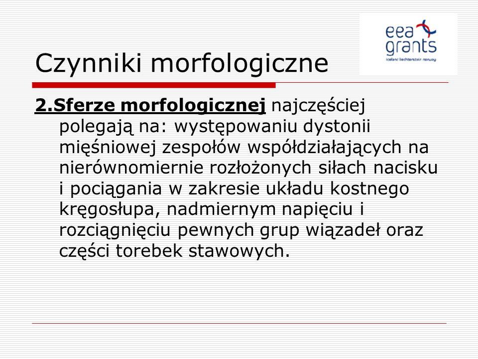 Czynniki morfologiczne 2.Sferze morfologicznej najczęściej polegają na: występowaniu dystonii mięśniowej zespołów współdziałających na nierównomiernie