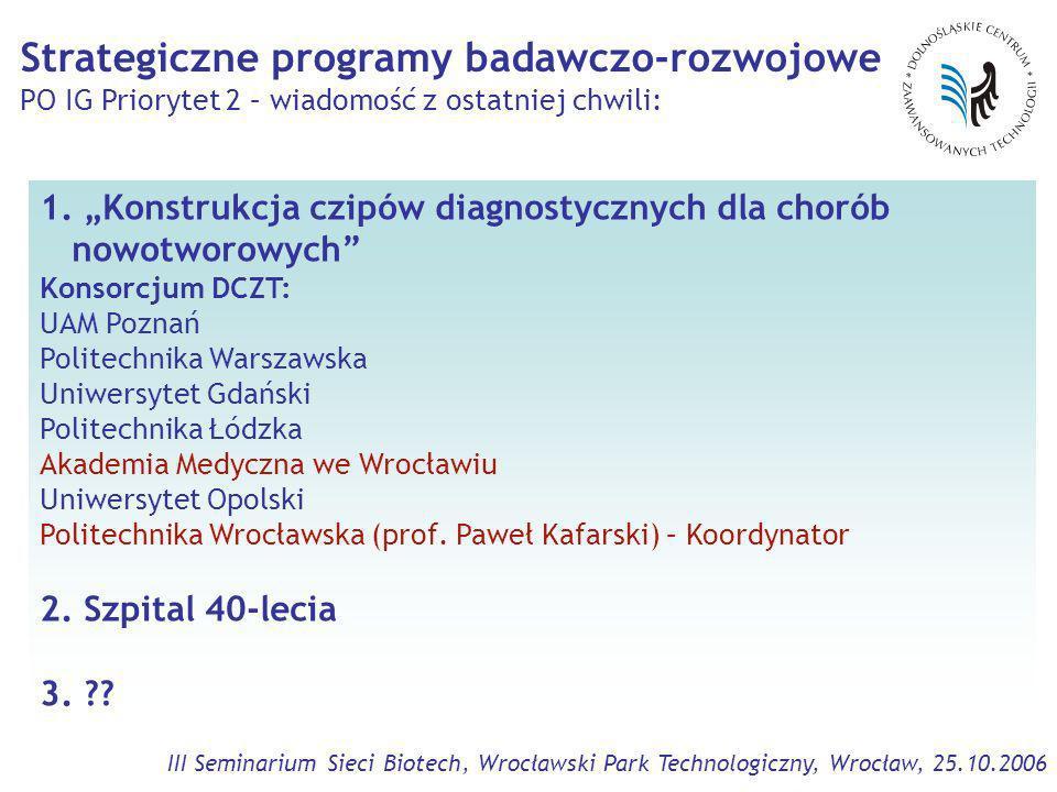 III Seminarium Sieci Biotech, Wrocławski Park Technologiczny, Wrocław, 25.10.2006 1.