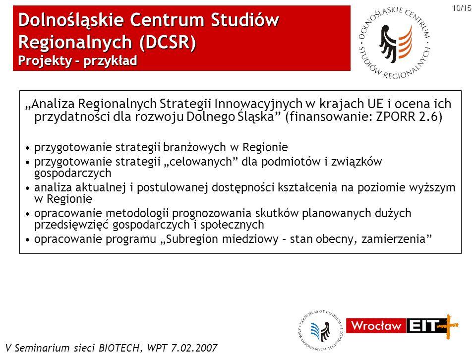 V Seminarium sieci BIOTECH, WPT 7.02.2007 10/15 Dolnośląskie Centrum Studiów Regionalnych (DCSR) Projekty - przykład Analiza Regionalnych Strategii In