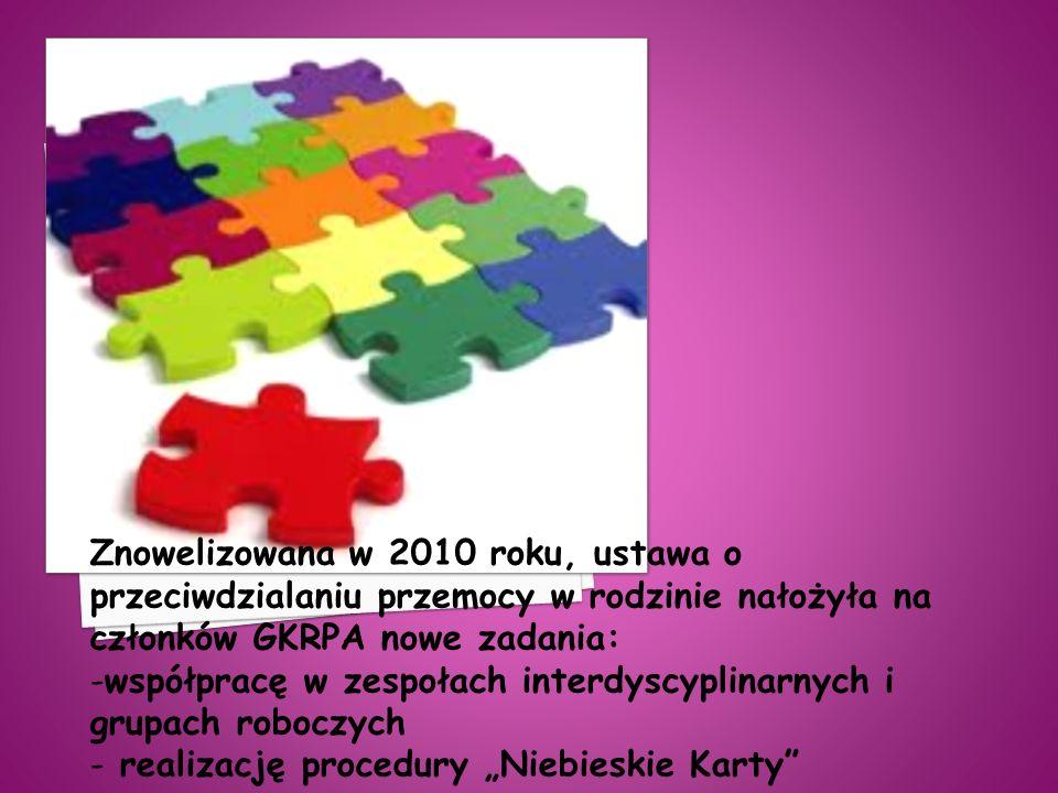 Znowelizowana w 2010 roku, ustawa o przeciwdzialaniu przemocy w rodzinie nałożyła na członków GKRPA nowe zadania: -współpracę w zespołach interdyscypl
