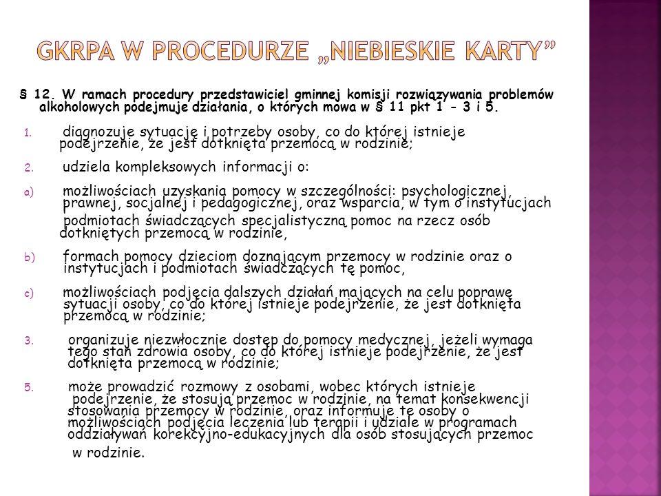 § 12. W ramach procedury przedstawiciel gminnej komisji rozwiązywania problemów alkoholowych podejmuje działania, o których mowa w § 11 pkt 1 - 3 i 5.