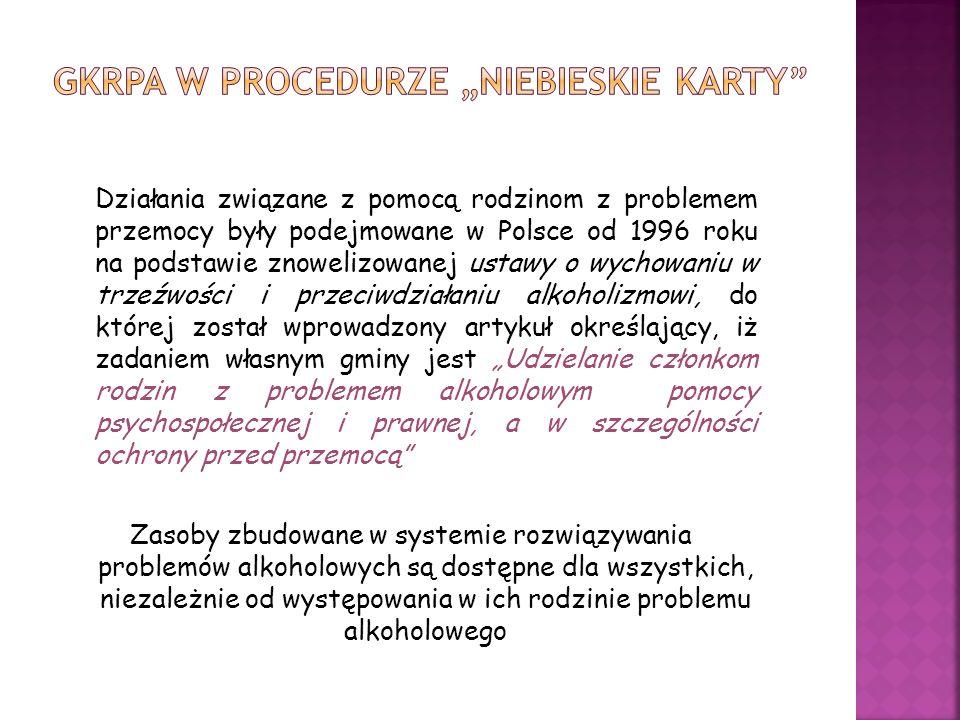 Działania związane z pomocą rodzinom z problemem przemocy były podejmowane w Polsce od 1996 roku na podstawie znowelizowanej ustawy o wychowaniu w trz