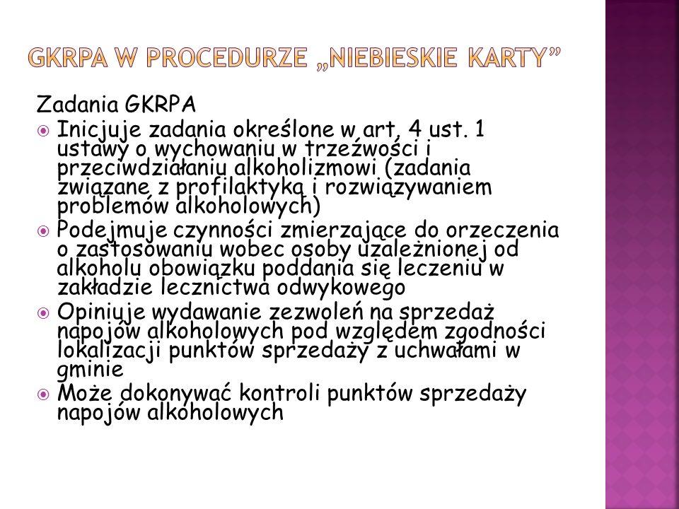 Zadania GKRPA Inicjuje zadania określone w art. 4 ust. 1 ustawy o wychowaniu w trzeźwości i przeciwdziałaniu alkoholizmowi (zadania związane z profila