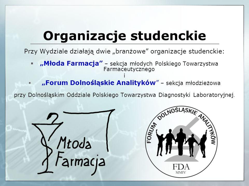 Organizacje studenckie Przy Wydziale działają dwie branżowe organizacje studenckie: Młoda Farmacja – sekcja młodych Polskiego Towarzystwa Farmaceutycz