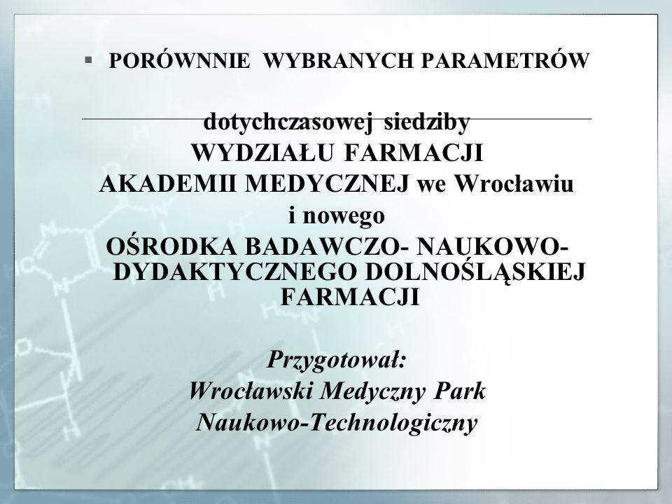 PORÓWNNIE WYBRANYCH PARAMETRÓW dotychczasowej siedziby WYDZIAŁU FARMACJI AKADEMII MEDYCZNEJ we Wrocławiu i nowego OŚRODKA BADAWCZO- NAUKOWO- DYDAKTYCZ