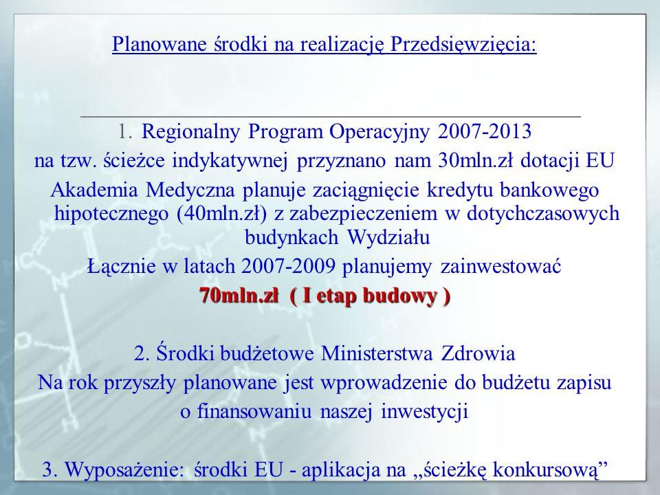 Planowane środki na realizację Przedsięwzięcia: 1.Regionalny Program Operacyjny 2007-2013 na tzw. ścieżce indykatywnej przyznano nam 30mln.zł dotacji